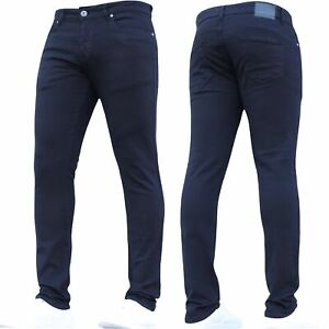 Mens Super Stretch Jeans Skinny Designer Basic Black Pants All Size BNWT New