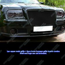 Fits 05-10 Chrysler 300C Black Stainless Steel Mesh Grille Grill Combo Insert
