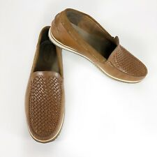 Hush Puppies Mens Shoes Loafer Oxford SlipOn Leather Bolognese Woven Brown Sz 11