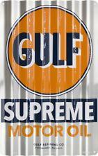 GULF SUPREME MOTOR OIL CORRUGATED SIGN Gas Pump Station Garage Man Cave