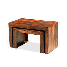 Cuba Sheesham Cube Nest of 2 Tables Set Living Room Solid Wood Indian Furniture