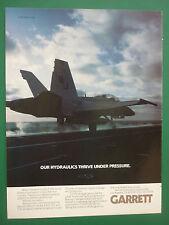 10/1986 PUB GARRETT HYDRAULIC SYSTEMS F/A-18 HORNET US NAVY ORIGINAL AD