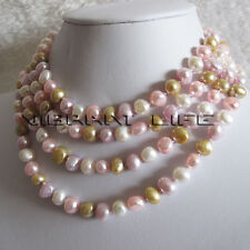"""58"""" 7-9mm Multi Color Baroque Freshwater Pearl Necklace M1 Fashion Jewelry U"""