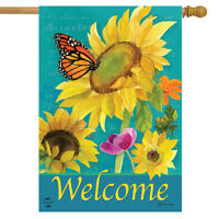 """Monarch and Sunflowers Spring House Flag Welcome Floral Butterflies 28"""" x 40"""""""