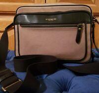 Coach Essex Twill Flight Case Crossbody Shoulder Bag in Barley/Black Xlnt Cond