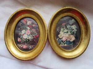2 kleine ovale Holzrahmen, Goldfarben, Blumenbilder, Glas