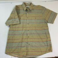Orvis Mens XL Brown Short Sleeve Multicolored Button Down Shirt 100% Cotton