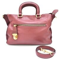 Authentic Prada Saffiano Leather Nylon 2way Tote Shoulder Hand Bag Bordeaux Gold
