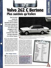 VOITURE VOLVO 262 C BERTONE FICHE AUTO 1977 RENSEIGNEMENT TECHNIQUE