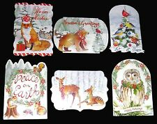 Punch Studio 6 Die-Cut Christmas Cards Antique Ephemera Woodland Creatures 60834