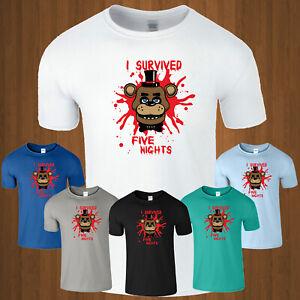 Five Nights At Freddy's T Shirt Gaming Kids Boys Tee FNAF Funny Cool Mens Gift