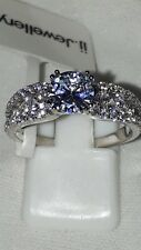 925 SILVER ENGAGEMENT RING STIMULATED DIAMOND RHODIUM PLATED SZ N USA 7 EUR 54