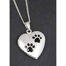 equilibrium silver plated paw print locket necklace gift boxed jewellery gift