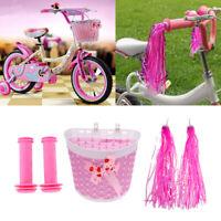 Girls Bike Bicycle Handlebar Grips, Tassels, Front Shopping Basket Set Pink