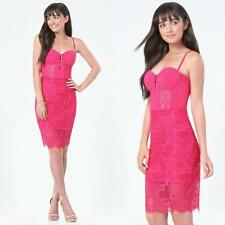 BEBE PINK CADENCE LACE MIDI BUSTIER DRESS NWT NEW $159 XSMALL XS 2