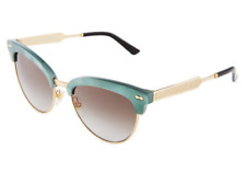 GUCCI GG 4283/S Women Sunglasses Green Gold Cat Eye Mother of Pearl Brown R40N6