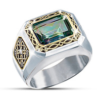 Luxurious Men's Two -Tone 925 Silver Emerald Band Ring Wedding Jewelry Size 6-13