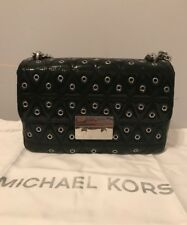 MICHAEL KORS SLOAN STUD GROMMET QUILT Patent LEATHER CHAIN SHOULDER BLACK $358
