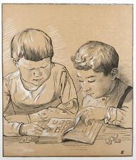 Tony Beltrand Original woodcut 1897  Libre Echange Art Nouveau  Symbolism