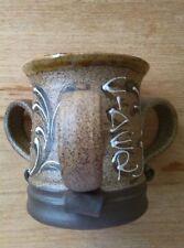Rare brown three handled studio pottery cider mug L . Stockley Weymouth signed B