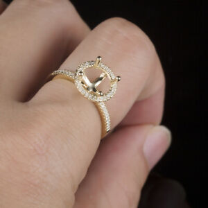 7.75 to 8.5mm Round Semi Mount Natural Diamonds Solid 10K Yellow Gold Ring 2.8g