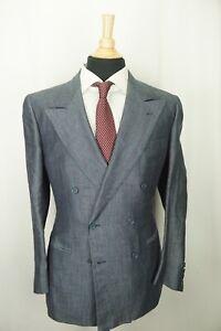 Luciano Barbera 100% Linen Herringbone Red Windowpane DBL Breasted 2 Pc Suit 40R