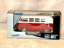 NEW IN BOX WELLY VW 1962 CLASSICAL BUS DIE CAST SCALE MODEL PULL BACK DRIVE