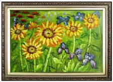 Framed, Sunflowers and Irises Field, Quality Hand Painted Oil Painting, 24x36in