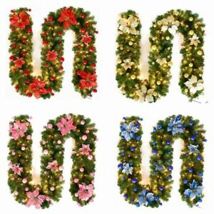 9FT Pre Lit Christmas Garland with LED Lights Door Wreath Xmas Fireplace Decor