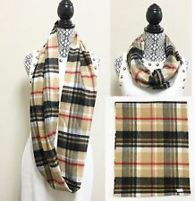 CAMEL+BLACK+RED+WHITE+BEIGE CHECKER,PLAID INFINITY,LOOP SCARF,WRAP,SHAWL,STOLE