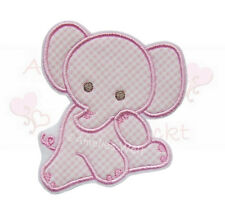Baby Elefant rosa vichy Applikation Aufbügler Aufnäher Patch Bügelbild Sticker
