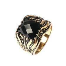 Personality Ring Silver/Gold Plated Square Black Stone Women and Men's  Ring