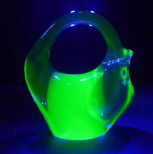 VERY UNUSUAL VINTAGE RETRO GREEN BLUE GLASS URANIUM PAPERWEIGHT POT VASE MURANO