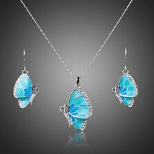 Blue Butterfly Clear White Shiny Rhinestone Chain Necklace Earrings Jewelry Set