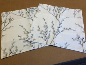 TWO LAURA ASHLEY HANDMADE CUSHION COVERS IN PUSSY WILLOW OFFWHITE/STEEL