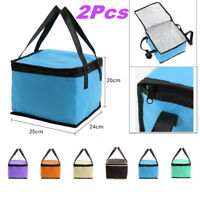 2Pc Thermal Cooler Insulated Lunch Box Tote Storage Picnic Bag Pouch Grocery Bag