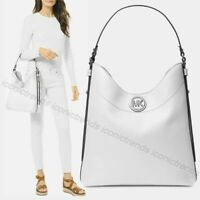 NWT 🤍 Michael Kors Bowery Large Leather Hobo Shoulder Bag Optic White Silver