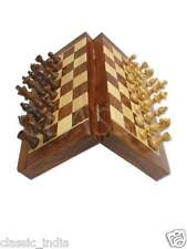 "Wooden MAGNETIC Chess 8x8"" Natural Wood carved Coins & Box board Pocket folding"