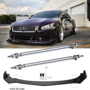 For 2009-2015 Nissan Maxima ST Front Bumper Lip Spoiler Splitters + Strut Rods