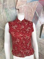 Mandala Red Dragon Asian Silk Kimono Blouse Sleeveless Top A18 Size XS