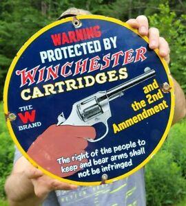 OLD VINTAGE WINCHESTER PROTECTION AMMUNITION PORCELAIN AMMO GUN HUNTING SIGN