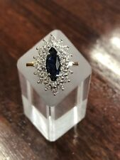ESTATE - 18ct Dark Sapphire and Diamond Cluster Ring - With Written Valuation