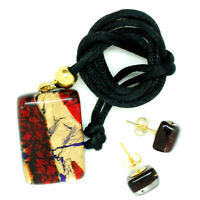 Murano Glass Pendant and Earrings Set Red Gold and Blue Venice