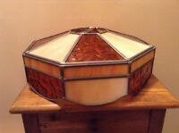 Vintage Amber Cream Leaded Glass Octagon Ceiling Light Lamp Shade