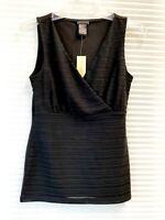 NWT Ann Taylor Womens Cross V-Neck Sleeveless Black Blouse Top Size XS