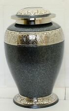 Cremation Urn for Ashes, Adult Funeral Memorial Large Brass Urn Grey with silver
