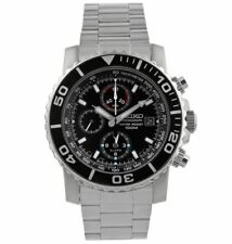 Seiko Chronograph Black Dial Stainless Steel Mens Watch SNA225
