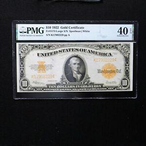 1922 $10 Gold Certificate, Fr #1173 Large S/N, PMG 40 EPQ (Speelman-White)