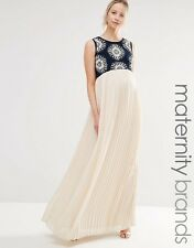 Maya Maternity 2 In 1 Embellished Maxi Dress With Cut Out Back UK 14/EU 42/US 10