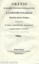 NAPOLI_MEDICINA_FISIOLOGIA_GAETANO LUCARELLI_ORAZIONE_RARA ANTICA EDIZIONE_1838